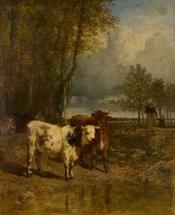 Cattle at a Watering Hole | Constant Troyon | Oil Painting