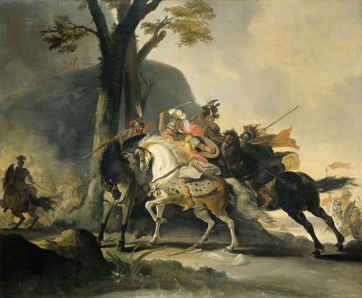 Alexander the Great in the battle against the Persians at the Granicus   Cornelis Troost   Oil Painting