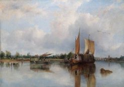 View of Barges on the Thames | Frederick Waters Watts | Oil Painting