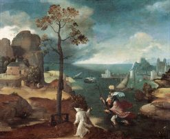 Saint Christopher Bearing the Christ Child | Joachim Patinir | Oil Painting