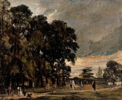 Landscape Study: Figures by a Clump of Trees | John Constable | Oil Painting