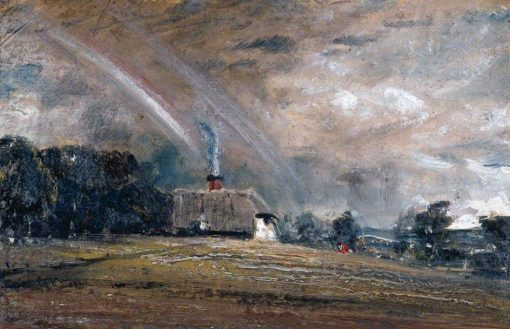 Landscape Study: Cottage and Rainbow   John Constable   Oil Painting