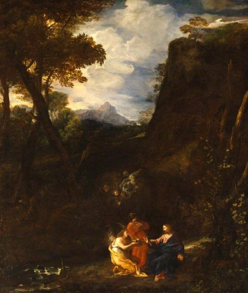 Landscape with Christ and Two Angels | Pier Francesco Mola | Oil Painting