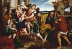 The Two Holy Families with Saint Roch (or James)