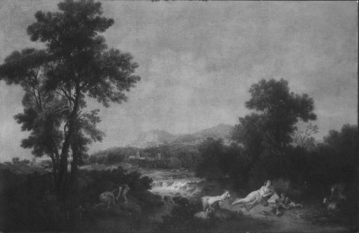 Landscape with a Stream and a Reclining Woman and Two Boys Beside Her | Francesco Zuccarelli | Oil Painting