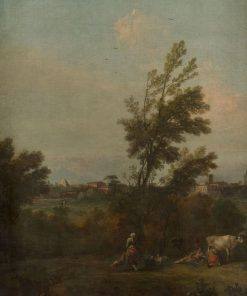 Landscape with a Woman Wading in a Pond with Ducks   Francesco Zuccarelli   Oil Painting