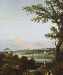 River Landscape with Two Seated Women Embracing | Francesco Zuccarelli | Oil Painting