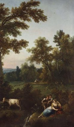 Landscape with Two Young Children offering Fruit to a Woman   Francesco Zuccarelli   Oil Painting