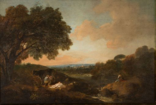 Landscape with a Sleeping Child and a Woman Milking a Cow | Francesco Zuccarelli | Oil Painting