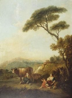 Landscape with a Woman Milking a Cow and a Child Begging for Milk   Francesco Zuccarelli   Oil Painting