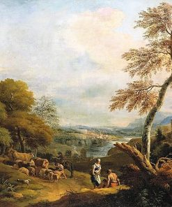 Landscape with Cattle and a Woman Speaking to a Seated Man | Marco Ricci | Oil Painting