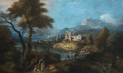 Landscape with a Woman and Child | Marco Ricci | Oil Painting