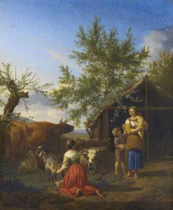 A Woman Milking a Goat Outside a Barn   Adriaen van de Velde   Oil Painting