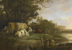 Cows in a Pasture Beside a River before the Ruins of the Abbey of Rijnsburg | Aelbert Cuyp | Oil Painting