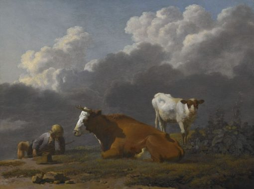 A Shepherd Boy Asleep with a Cow and its Calf | Carel Dujardin | Oil Painting
