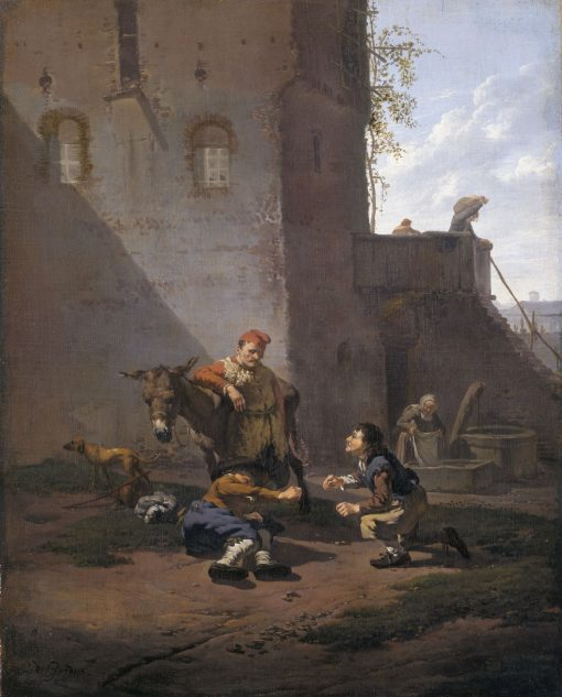 A Muleteer and Two Men Playing the Game of Morra | Carel Dujardin | Oil Painting
