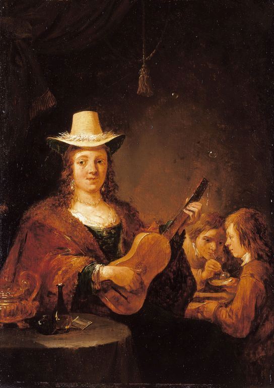 A Woman Playing the Guitar   David Teniers II   Oil Painting