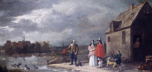 A Family Standing in a Landscape with a Moated House in the Background | David Teniers II | Oil Painting