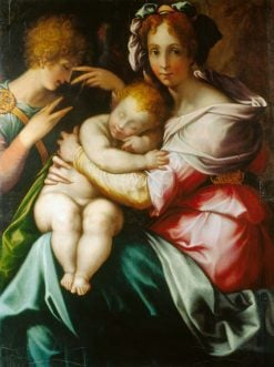 The Virgin and Child with an Angel | Francesco Salviati | Oil Painting