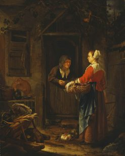 A Girl Selling Grapes to an Old Woman | Frans van Mieris the Elder | Oil Painting