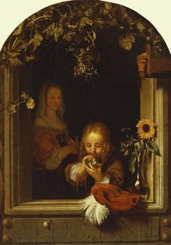 Boy at a Ledge Blowing Bubbles | Frans van Mieris the Elder | Oil Painting