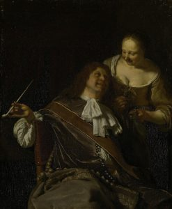 A Man Smoking and a Woman | Frans van Mieris the Elder | Oil Painting