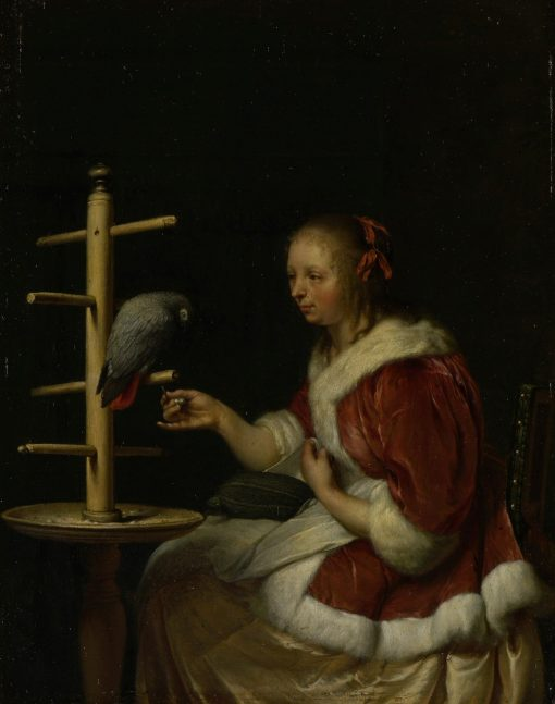 A Lady with Her Parrot | Frans van Mieris the Elder | Oil Painting