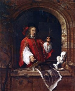 Self Portrait Standing at a Window(also known as Self-Portrait as a Painter)   Gabriel Metsu   Oil Painting