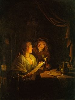 A Couple Reading by Candlelight | Gerrit Dou | Oil Painting