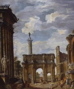 Caprice View with the Arch of Constantine and other Roman Ruins | Giovanni Paolo Panini | Oil Painting