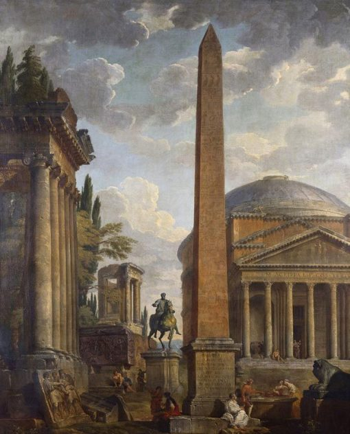 Caprice View with the Pantheon and Roman Ruins | Giovanni Paolo Panini | Oil Painting
