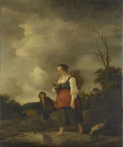 A Girl Crossing a Brook | Isaac van Ostade | Oil Painting