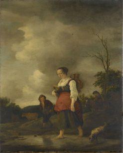 A Girl Crossing a Brook | Isaac van Ostade | Oil Painting