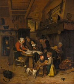 A Scene in a Peasant Kitchen with a Servant Laying the Cloth | Jan Havicksz. Steen | Oil Painting