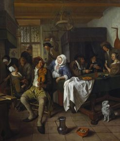 Interior of a Tavern with Card Players and a Violin Player | Jan Havicksz. Steen | Oil Painting