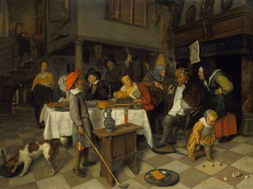 "A Twelth Night Feast: ""The King of Drinks"" | Jan Havicksz. Steen | Oil Painting"