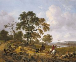 A Hilly Landscape with a Hawking Party | Jan Wijnants | Oil Painting