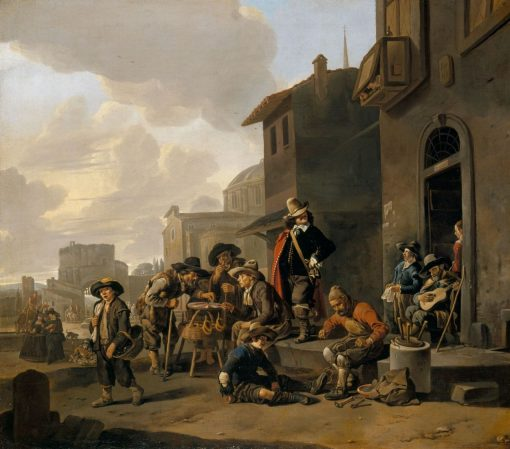 Figures Before a Locanda with a View of the Piazza del Popolo | Johannes Lingelbach | Oil Painting