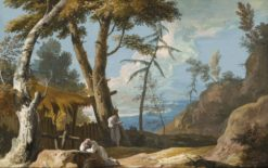 Landscape with Two Praying Monks | Marco Ricci | Oil Painting