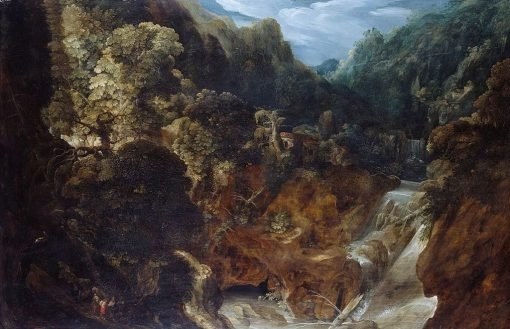 A Rocky Landscape with a Waterfall: the Flight into Egypt | Marten Ryckaert | Oil Painting