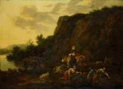 Landscape with a Milkmaid and Women Gathering Reeds | Nicolaes Berchem | Oil Painting