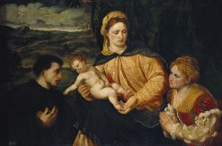 The Virgin and Child with Donors | Paris Bordone | Oil Painting