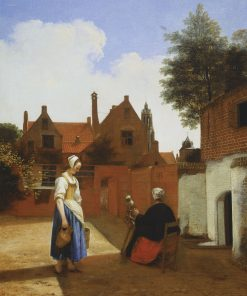 A Courtyard at Delft Evening: A Woman Spinning | Pieter de Hooch | Oil Painting