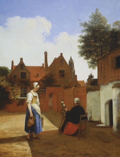 A Courtyard at Delft Evening: A Woman Spinning | Pieter de Hooch | Oil Painting