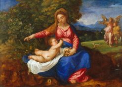 Madonna and Child in a Landscape with Tobias and the Angel | Titian | Oil Painting