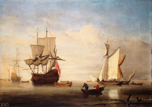 A Calm: An English Three-Decker Drying Sails with Two Galliots near Her | Willem van de Velde the Younger | Oil Painting