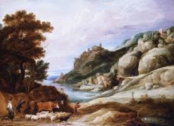 A Shepherd with His Flock in a Mountainous Landscape   David Teniers II   Oil Painting