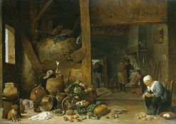 The Interior of a Kitchen with an Old Woman Peeling Turnips | David Teniers II | Oil Painting