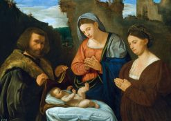The Virgin Adoring the Child with Two Donors | Giovanni Girolamo Savoldo | Oil Painting