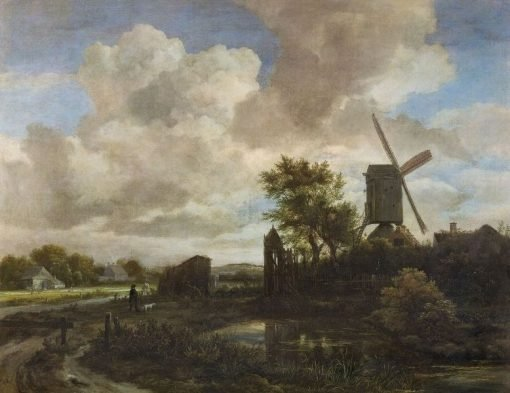 Evening Landscape: A Windmill by a Stream   Jacob van Ruisdael   Oil Painting